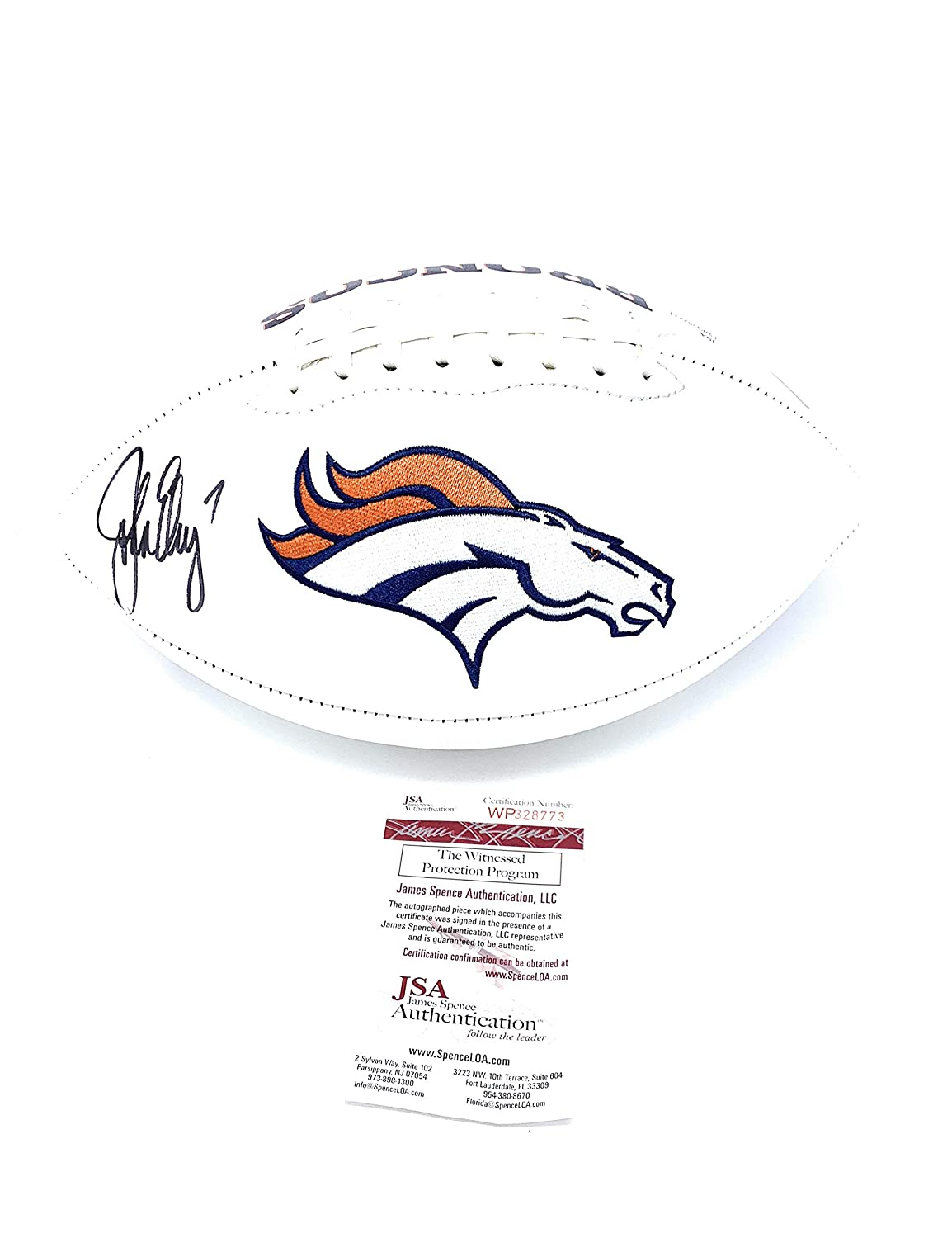 John Elway Denver Broncos Signed Autograph Embroidered Logo Football Elway Player Hologram JSA Witnessed Certified