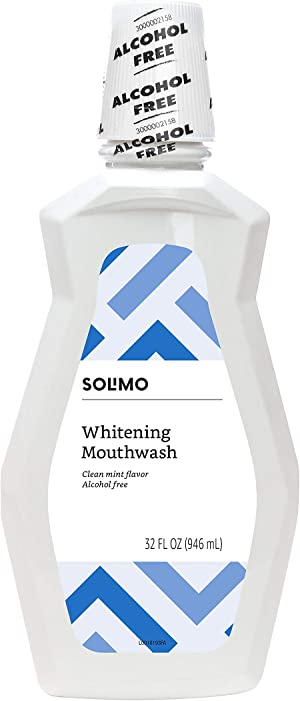 Amazon Brand - Solimo Whitening Mouthwash, Alcohol Free, Clean Mint, 32 Fluid Ounces, Pack of 1