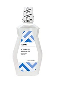 Amazon Brand - Solimo Whitening Mouthwash, Clean Mint, Alcohol Free, 32 Fluid Ounce