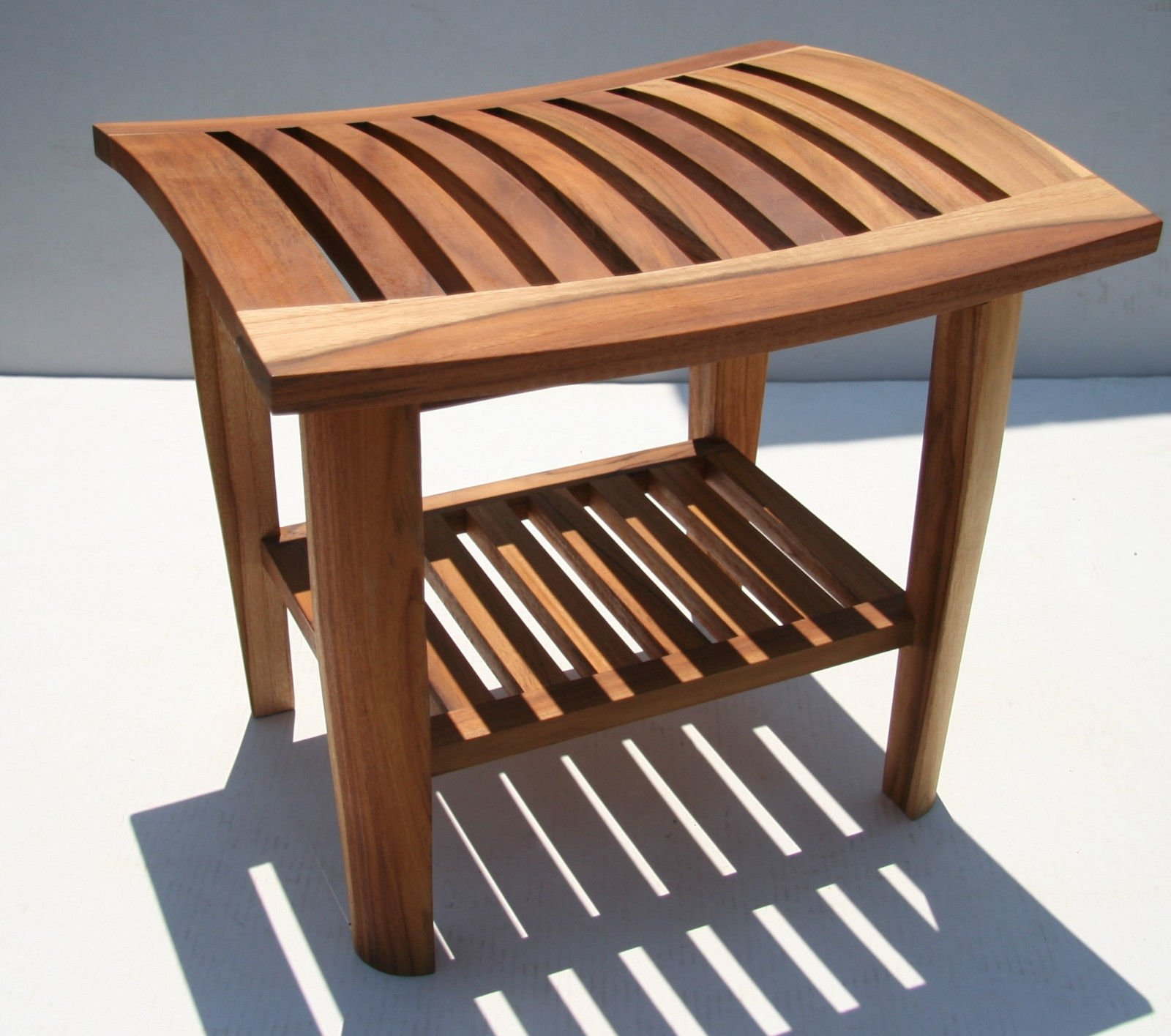 Teak Stool with shelf made for indoor or outdoor use, fully-assembled TEAK WOOD