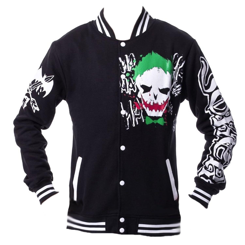 Large (16) Dc Comics Unisex 1220 Joker Black Green Red Varsity Jacket Batman Suicide Squad