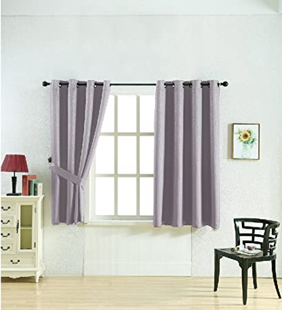 Taiser Short Curtains For Small Window Curtain 63 Inch Blackout With  Embossed Curtains For Bedroom 2