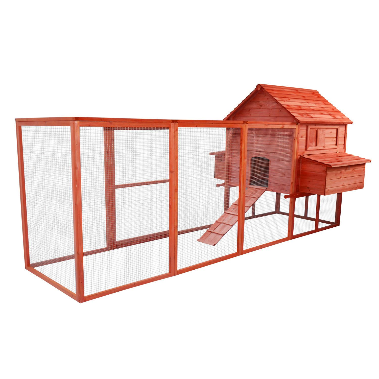 Pawhut 144'' Large Backyard Hen House Chicken Coop w/ Long Run