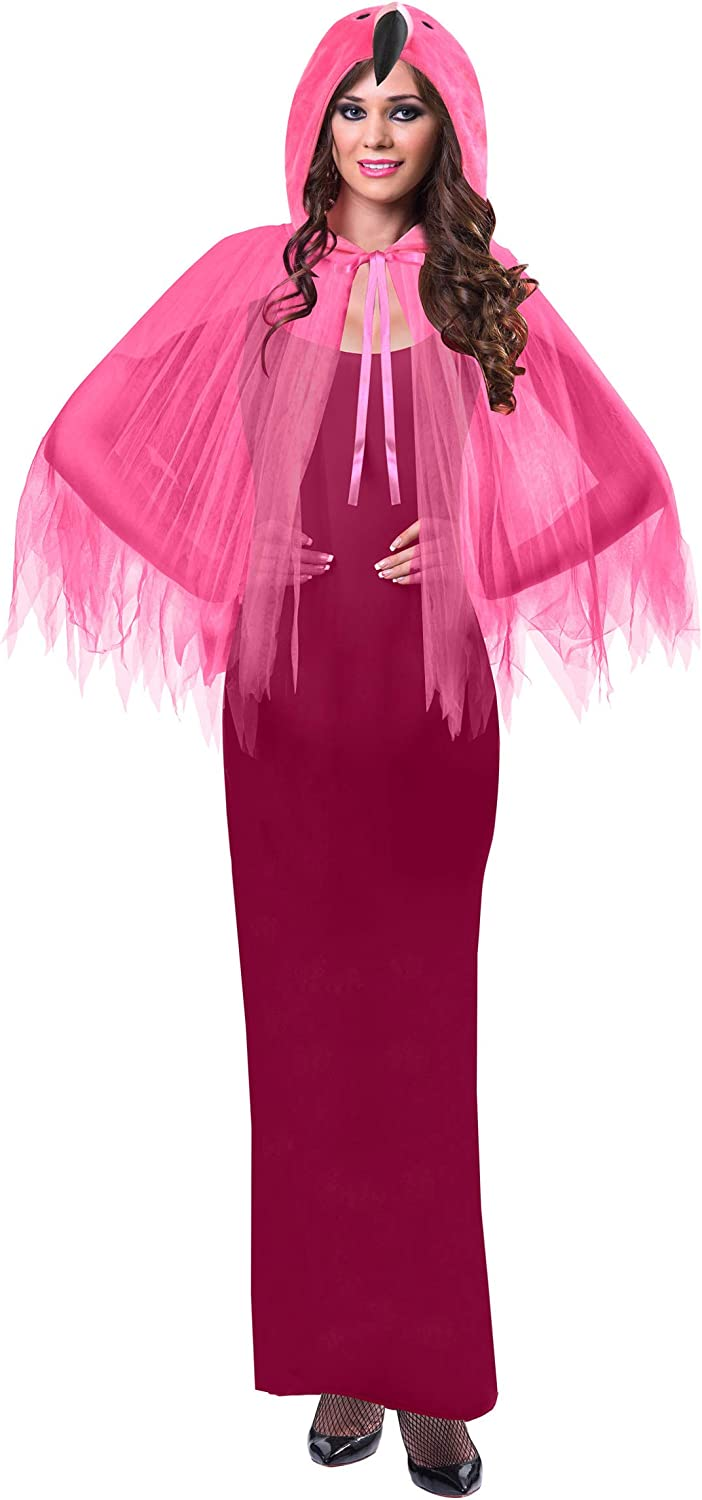 amscan 9903684 Pink Cape with Flamingo Head Hoodie for Adults-One Size Fits All-1 PC