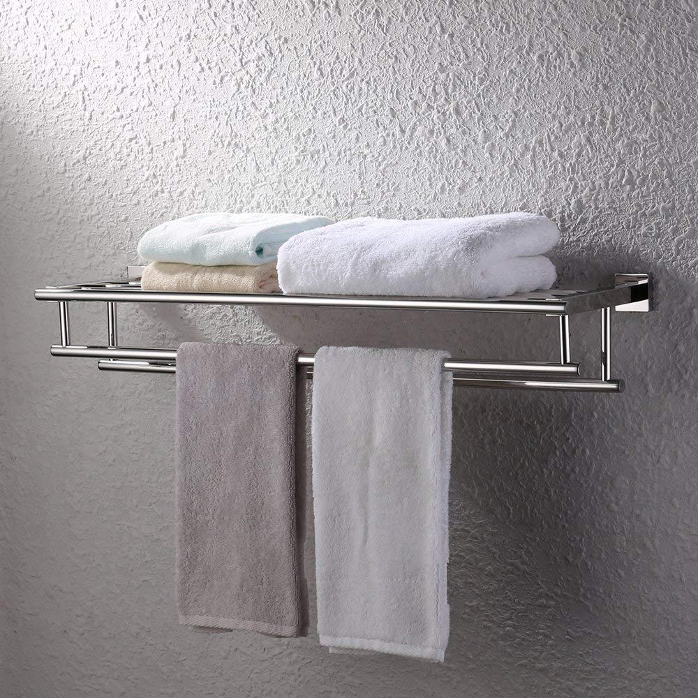 Spazzolato SUS 304 Acciaio INOX BOEN A1009-2 Porta Asciugamano da Bagno Portasciugamani Con Due Barre di Tovagliolo 60 cm Supporto da Parete