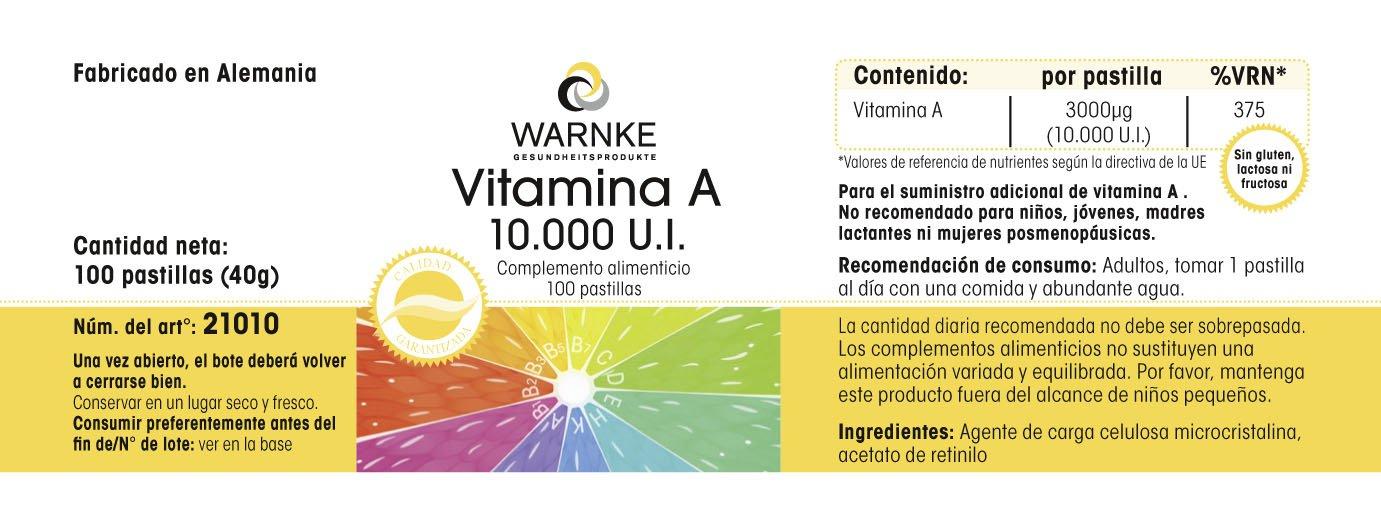 Vitamina A 10.000 I.E - Warnke Vitalstoffe - 100 cápsulas - 100% Vegano: Amazon.es: Salud y cuidado personal