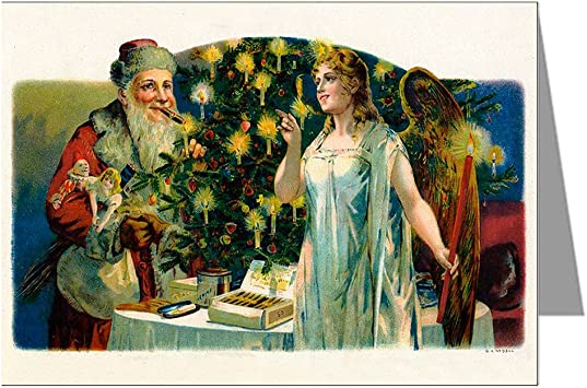 Amazon Com Classic Vintage Christmas Card Showing Santa And Angel With Presents Victorian Holiday Greeting Cards Boxed Set Blank Note Card Sets Office Products