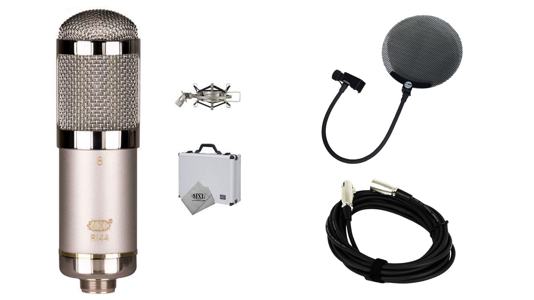 MXL R144 HE Microphone Bundle with 20-foot XLR Cable & Pop Filter (3 Items)