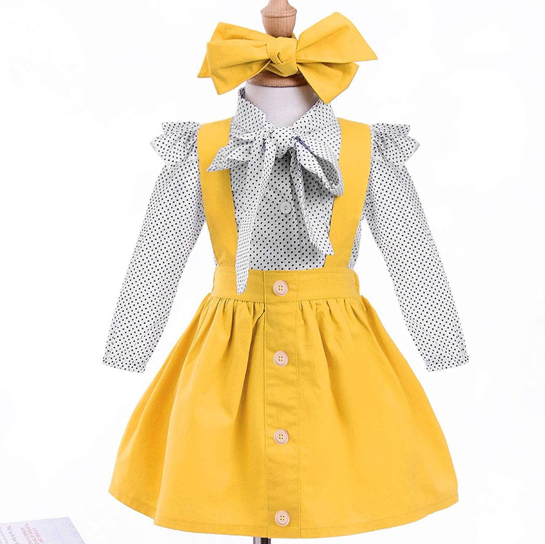 YOUNGER TREE Toddler Girl Outfits 1-4 T Long Sleeve Shirt Overall Skirt Headband Set School Uniform Dress
