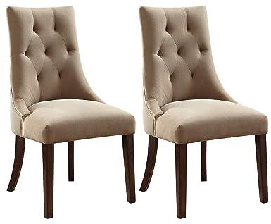 Superb Ashley Furniture Signature Design Mestler Dining Side Chair Button Tufted Seatback Set Of 2 Light Brown Home Interior And Landscaping Dextoversignezvosmurscom