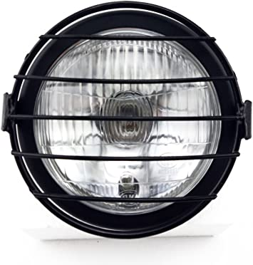 "Chrome 6.5/"" Side Mount Halogen Motorcycle Headlight w// Grill"