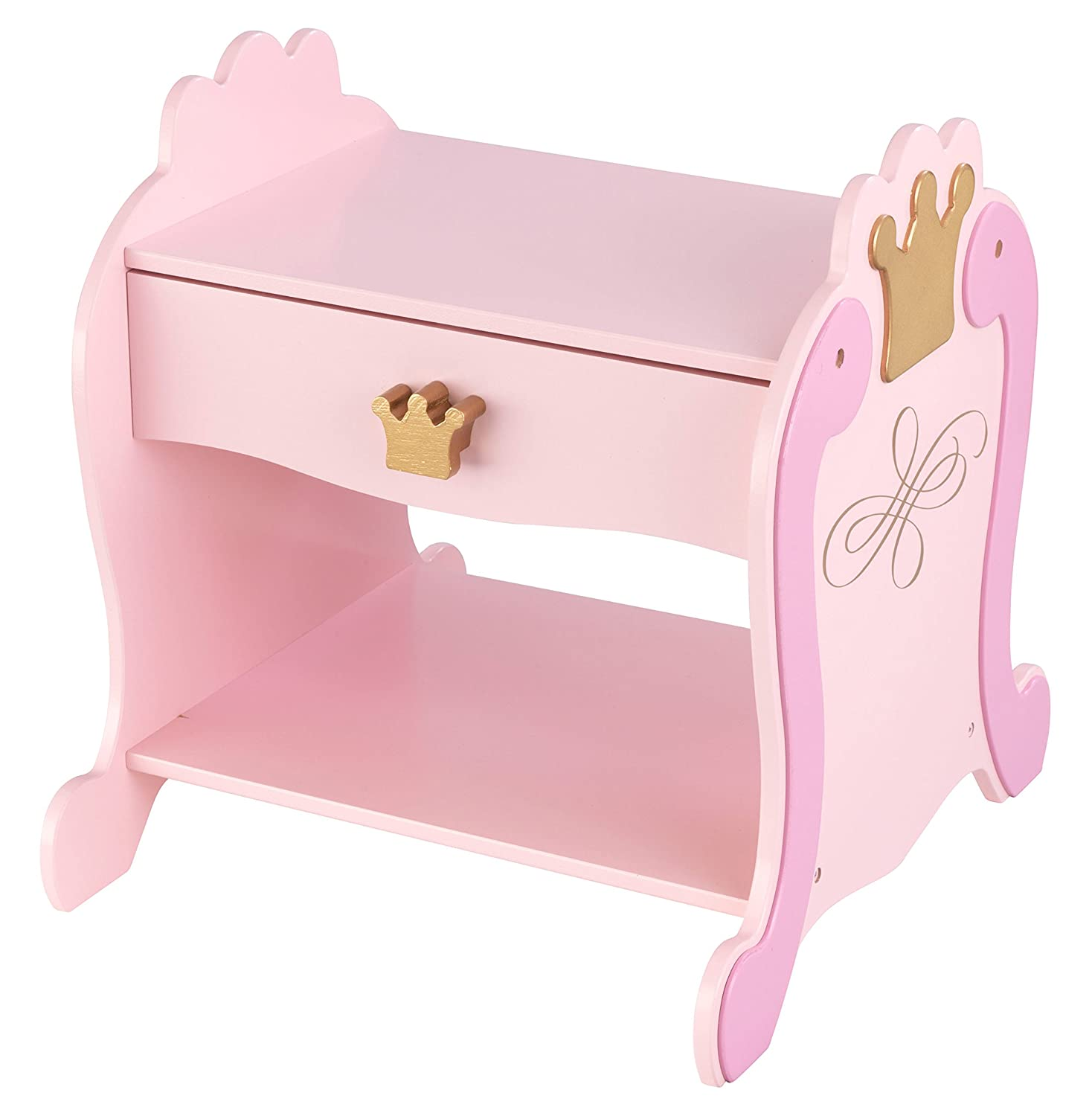 KidKraft 76124 KidKraft 76124 Princess Wooden Side Table Nightstand with Drawer for Kids, Toddler, Children's bedroom furniture and Princess bed