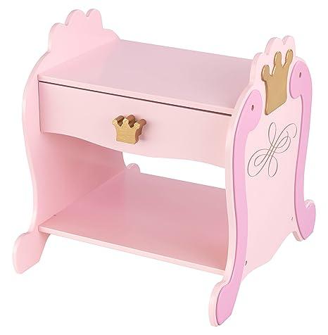 KidKraft 76124 Mesita infantil de noche con cajón de madera con diseño princesa, muebles para dormitorio de niños - Rosa