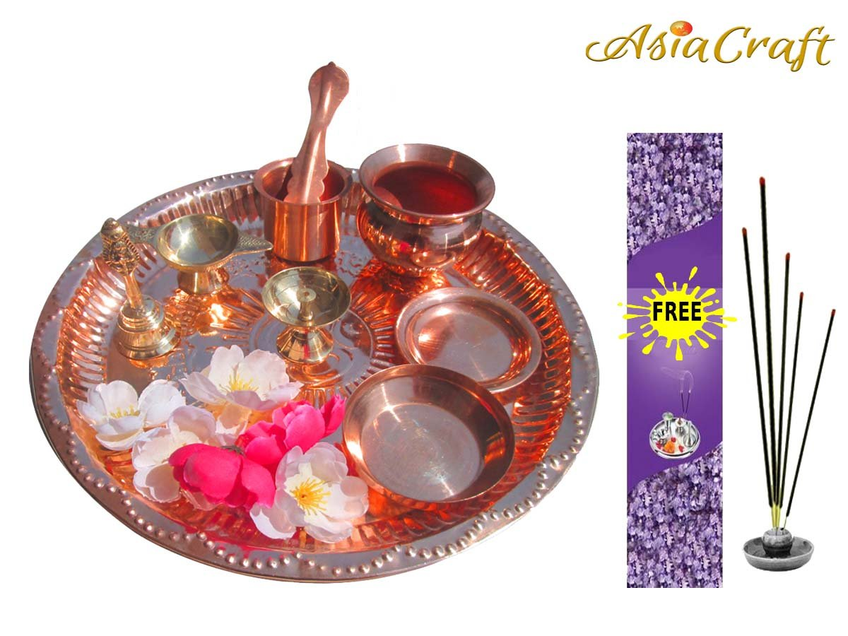 AsiaCraft Pure Copper Complete Pooja Thali Set for Worship - Om Engraved, Dia 10.5  Dia 10.5