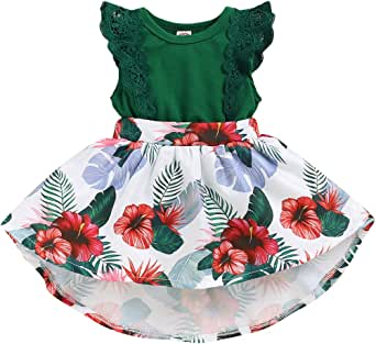 Newborn Infant Baby Girls Floral Dress Flutter Lace Sleeve Skirts Ruffle Dresses Fall Outfits