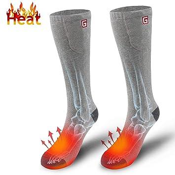 Calcetines eléctricos para hombres Mujeres con 3.7V Baterías recargables Calentadores de pies, Regalos ideales perfectos para caminar Pesca Senderismo Esquí ...