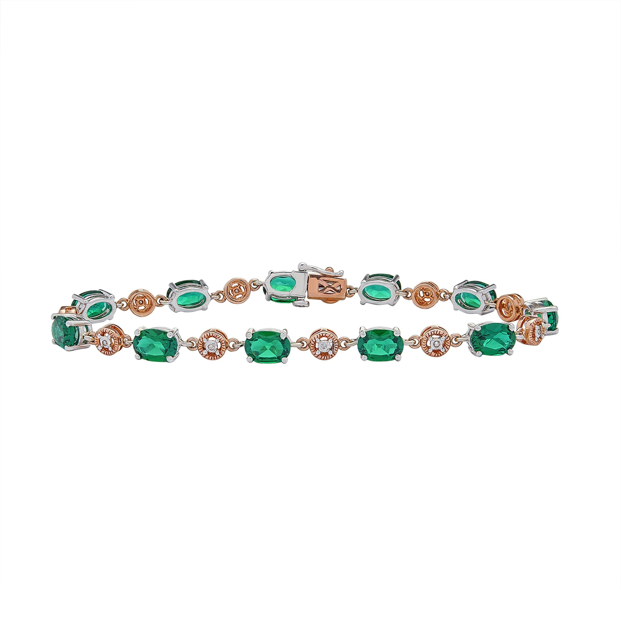 10K Rose Gold & Sterling Silver Diamond Accented and 7.92 CT Emerald Bracelet.