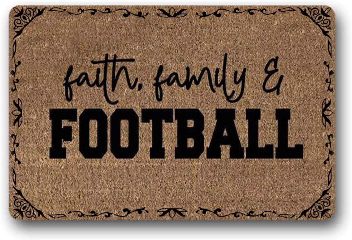 WYFKYMXX Faith Family and Football – Welcome Mat – Football Decor – Custom Doormat – Housewarming Gift – Fall Decor – Porch Decor – 23.6 x 15.7