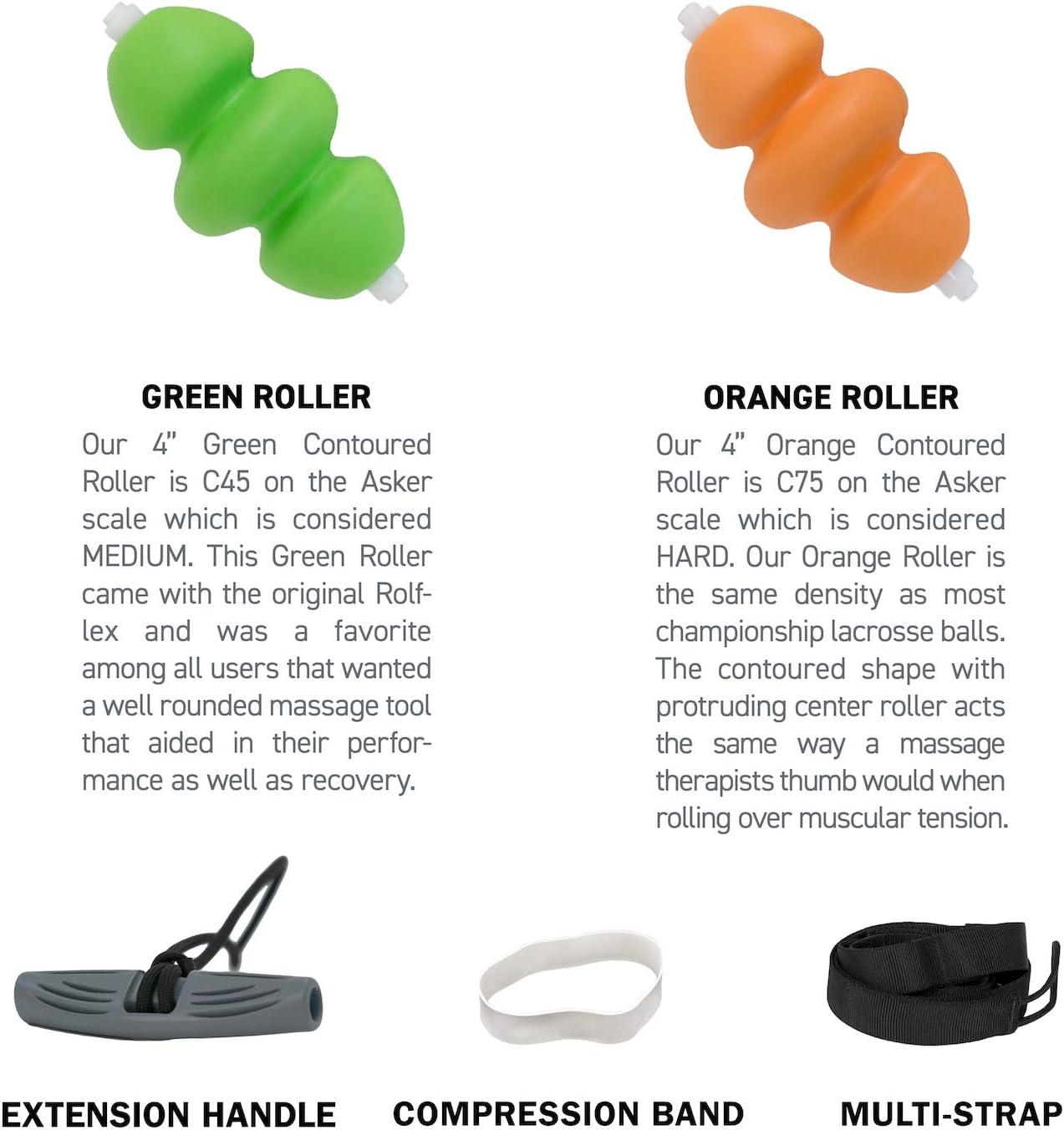 Orange Foam Roller Lacrosse Ball Density but Contoured for Deeper Muscle /& Fascial Massage EVA Rolflex Extreme Leverage Foam Rolling Combo System