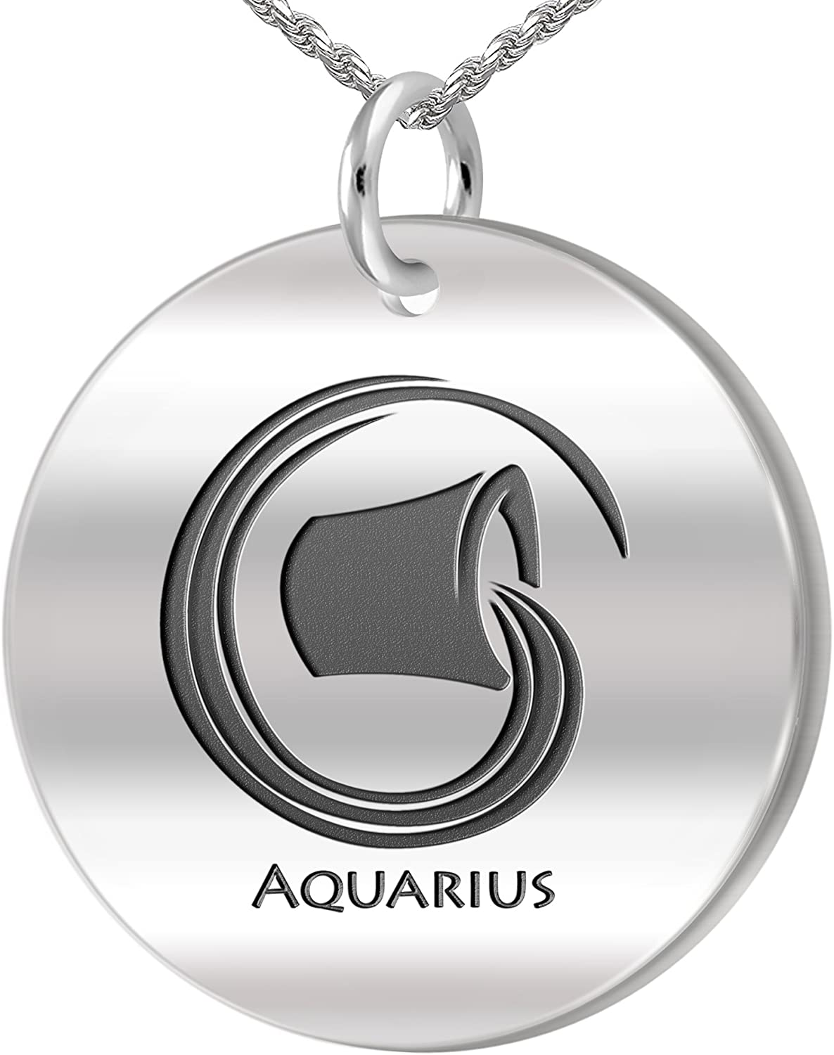US Jewels And Gems 0.925 Sterling Silver 1in Aquarius January /& February Zodiac Problem Necklace