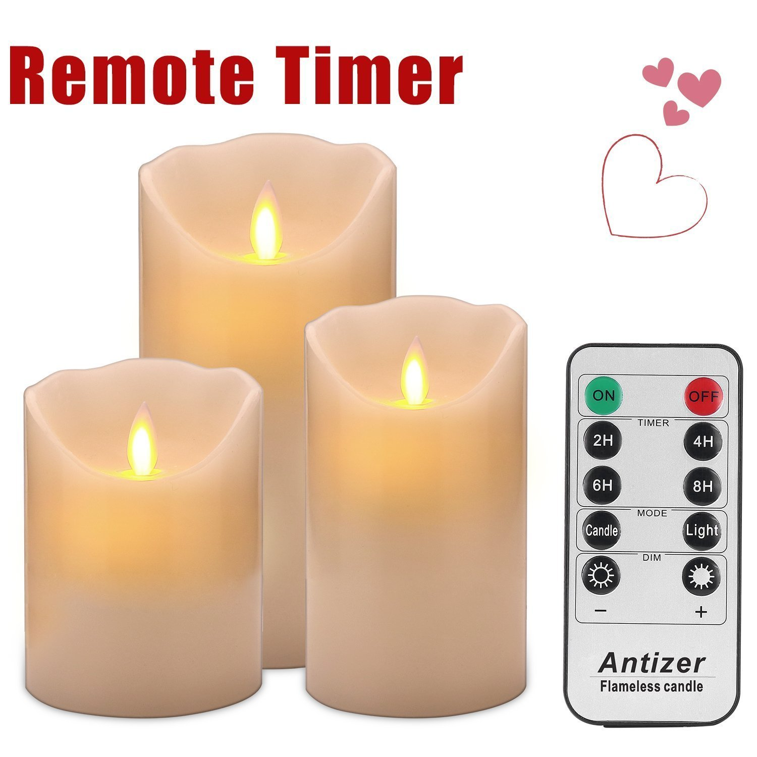 Ivory Flameless LED Pillar Candles with Remote - Set of 3