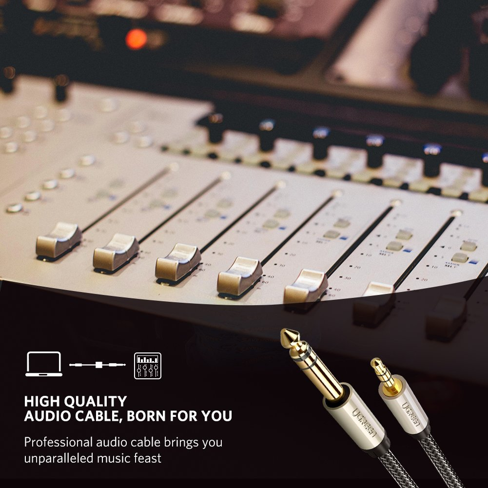 UGREEN 6.35mm 1/4'' Male to 3.5mm 1/8'' Male TRS Stereo Audio Cable with Zinc Alloy Housing and Nylon Braid Compatible for iPod, Laptop,Home Theater Devices, and Amplifiers, 10FT by UGREEN (Image #3)