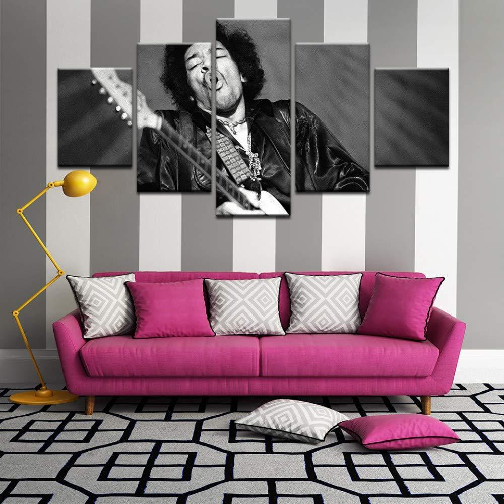 xkkzka Senza Telaiovintage Black White Poster per Jimi Hendrix Canvas Painting per La Decorazione Domestica della Stanza Wall Art 5 Pz Immagine Cantante/-A