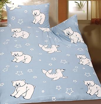 Baby Kinder Sommer Bettwäsche 100 X 135 40x60 Cm Motiv Robbe