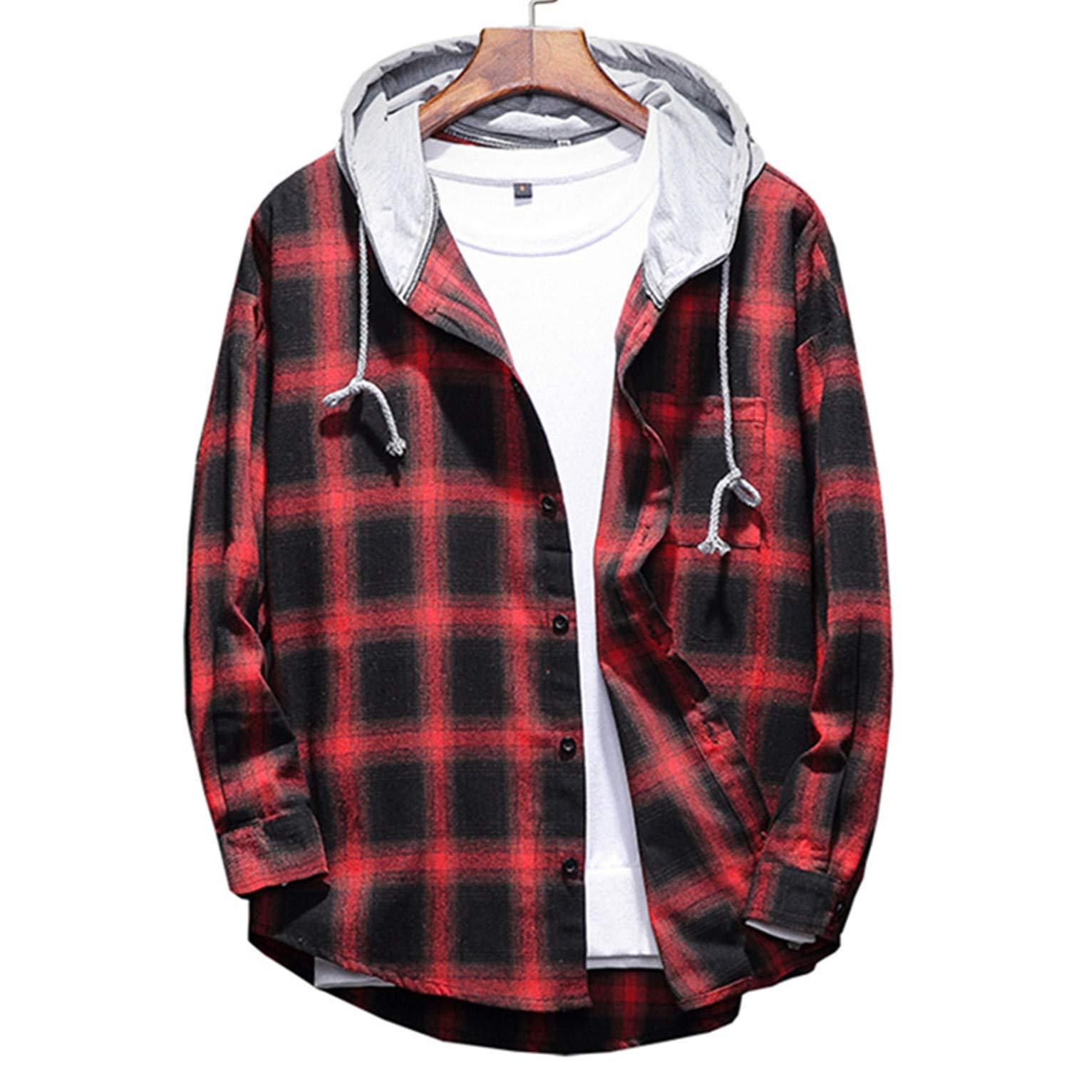 Fashion New Mens Casual Long Sleeve Hoodie//Mens Hooded Plaid Thin Sweatshirts Coat