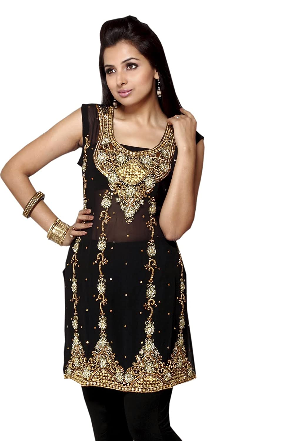 Fashion Sleeve Less Georgette Full Stone Work Top