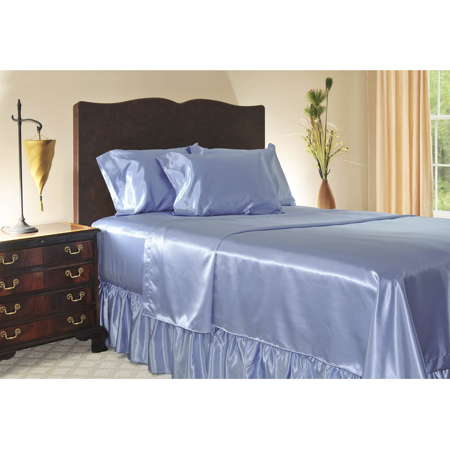 sweet dream Luxury Queen Size Satin Fitted Sheet - Jewel Blue