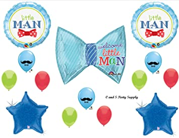 baby boy little man bow tie baby shower balloons decorations supplies by anagram by anagram