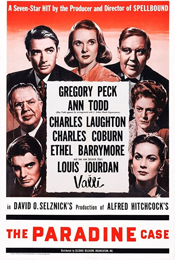 Amazon.com: The Paradine Case Us Poster Art (Top) Gregory Peck Ann ...