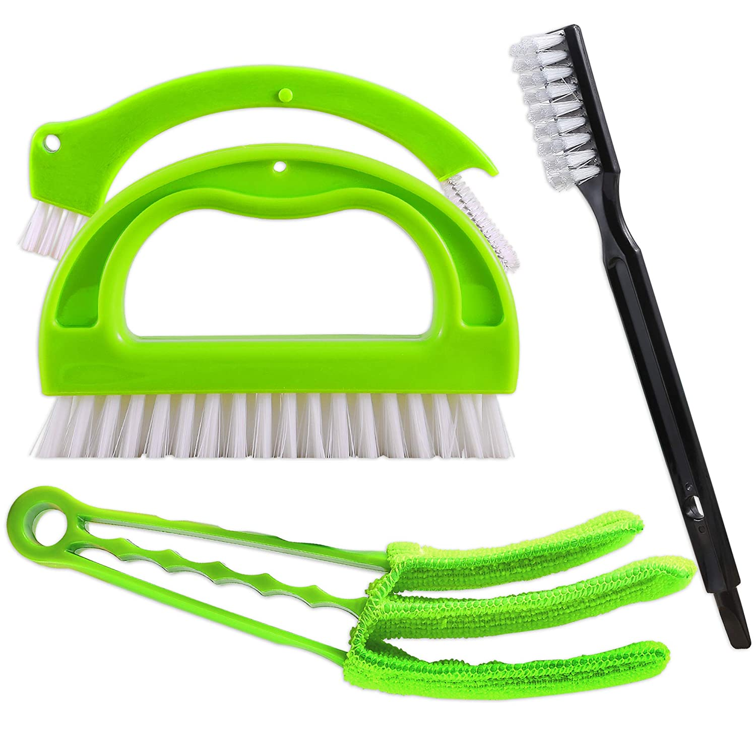 Tile Brushes+Venetian Blind Duster, SOSMAR Kitchen Bathroom Joint Brush Cleaner, Window Blinds Cleaner with Extra Microfiber Sleeve, 4 in 1 Brushes for Home House Deep Cleaning