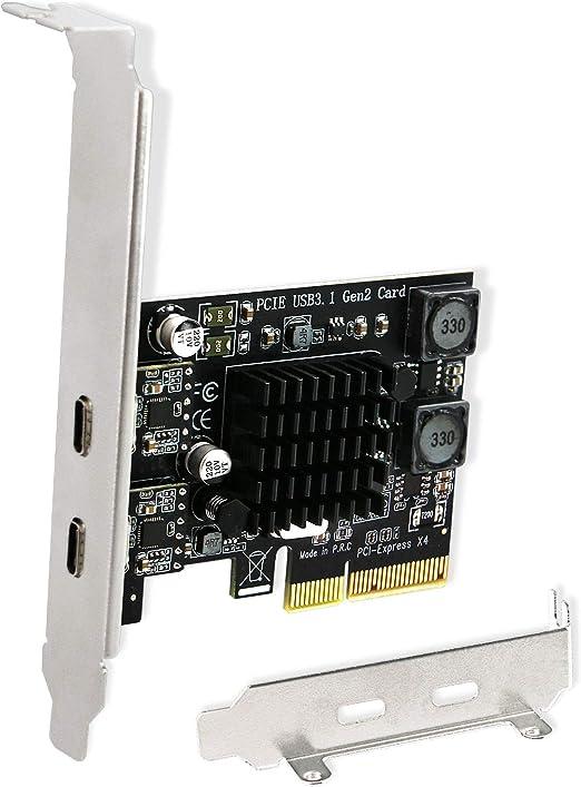 FebSmart 2X 10Gbps USB-C Ports PCIE USB 3.1 Gen 2 Expansion Card for Windows Server,7.8,8.1,10(32/64), MAC OS 10.9.x,10.10.x,10.12.x,10.13.x,10.14.x,10.15.x-Build in Self-Powered Technology(FS-C2-Pro)