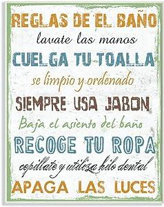 Stupell Home Décor Reglas De El Bano Multicolor Wall Plaque Art, 10 x 0.5 x 15, Proudly Made in USA