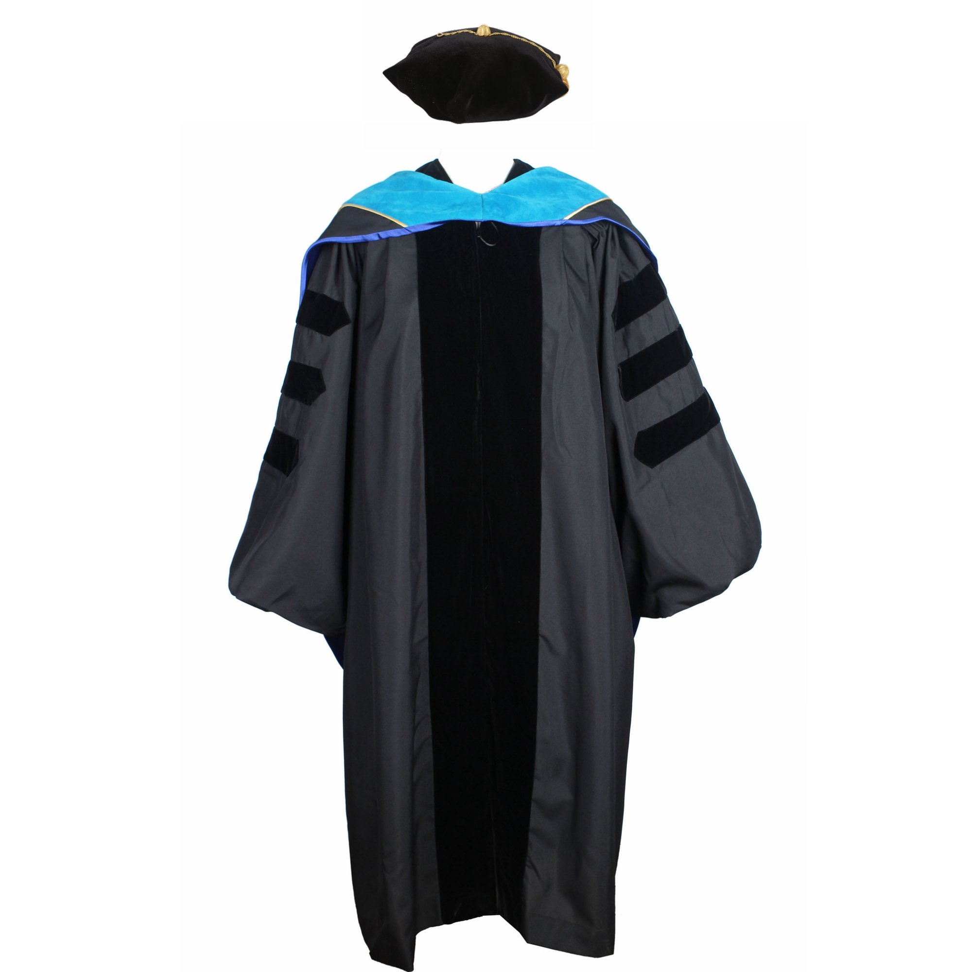 GraduationService Deluxe Classic Doctoral Graduation Gown,Hood and Tam Package Unisex Phd Gown by GraduationService