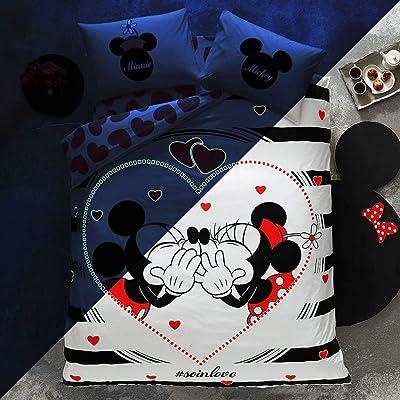 TAC 100% Cotton Double Queen Size Bedding Set Duvet Quilt Cover Set Mickey Minnie Mouse soinlove: Home & Kitchen