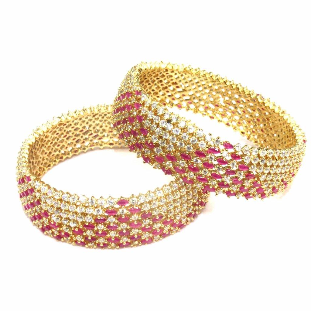 Jewelshingar Jewellery Diamond Looking Bangles For Girls ( 16148-jb-ruby-2.6 )