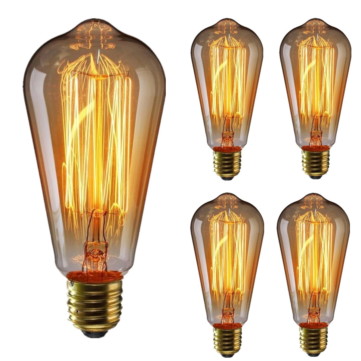 Vintage Edison Bulb KINGSO Dimmable 60W Edison Light Bulb Squirrel Cage Filament Incandescent Antique Light Bulb E26 Base ST64 110V - 4 Pack