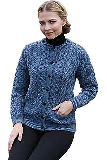 Carraig Donn 100% Irish Merino Wool Ladies Lumber Sweater with ... e06bc9089