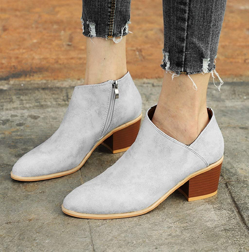 Almond Toe Ankle Boots for Women Lether Stacked Block Heel Side Zipper Cut Western Ankle Booties Ladies Shoes by Nevera