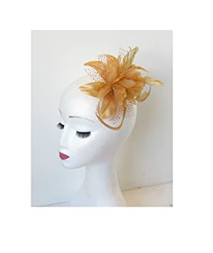 Gold Fascinator Hair Comb Feather Bronze Flower Vintage Wedding ... 52ef56bace4