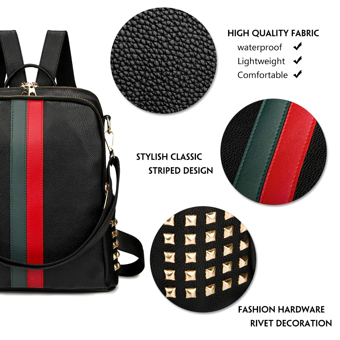c1b8342b4 Amazon.com: Leparvi Mini Cute Backpack Purse PU Leather Women Backpack Bags  Satchel Luxury Totes Ladies Work Rucksack Bag (Medium Black): Clothing