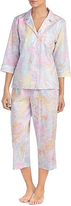 6cd57aaca71 Lauren Ralph Lauren Printed Top and Capri Pajama Set (Pink Multi, X-Small