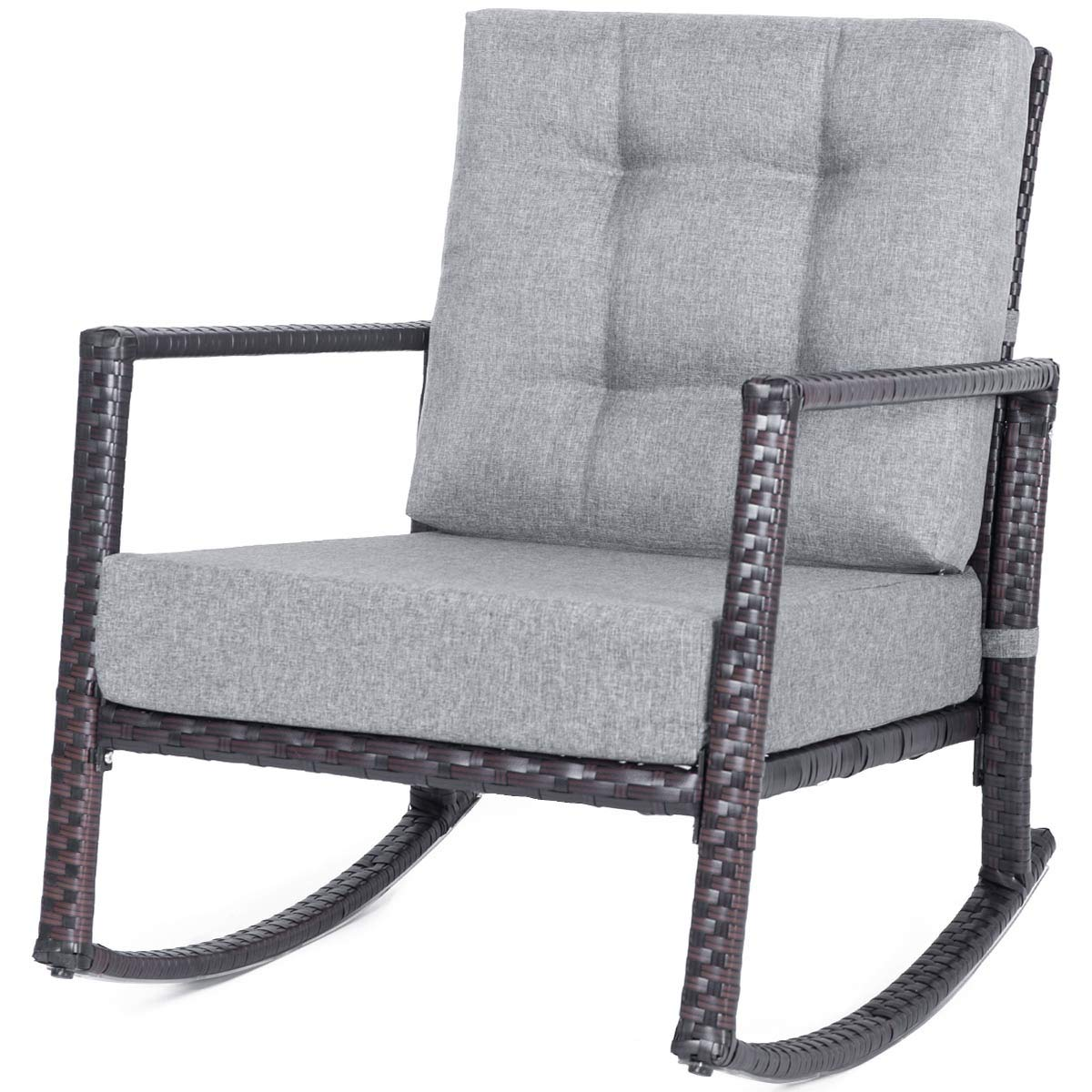 Peachy Merax Patio Chairs Outdoor Glider Rattan Rocker Chair Wicker Rocking Chairs With Grey Cushions For Porch Garden Lawn Deck Machost Co Dining Chair Design Ideas Machostcouk