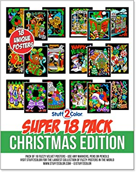 Super Pack of 18 Fuzzy Velvet Coloring Posters (Christmas Edition)