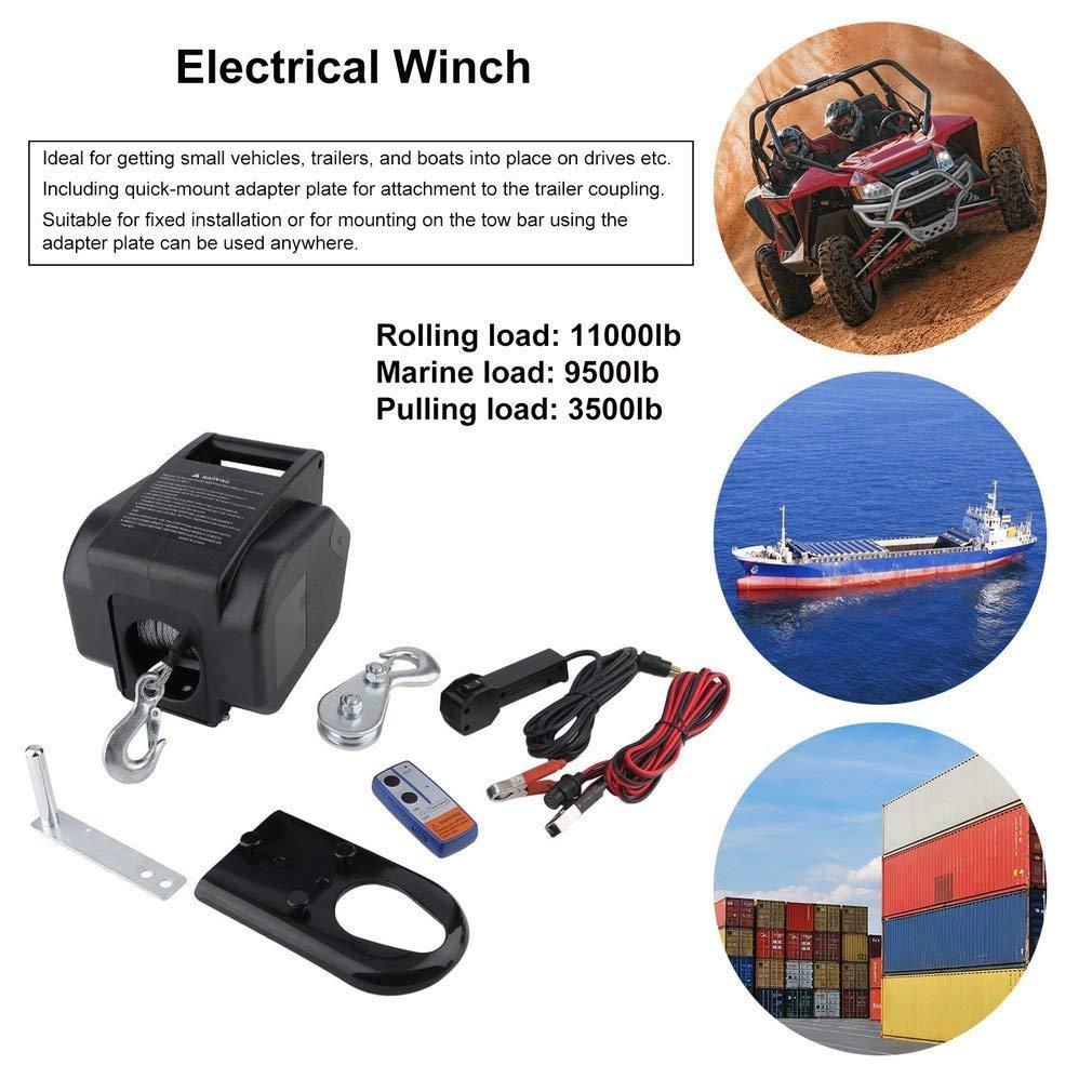 12 V eléctrico torno de barco cabrestante (4990 kg cuerda Motor Torno Boat con mando a distancia: Amazon.es: Bricolaje y herramientas