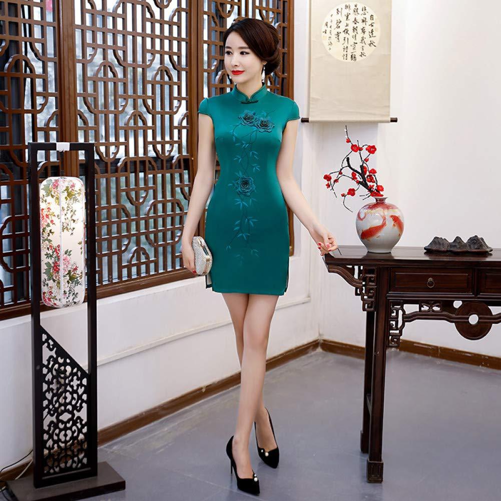 A10 XXXL Qingxi Printemps Cheongsam brodé Longue Robe Cheongsam Paragraphe Paragraphe Slim Slim Sac Manches Hanche d'été