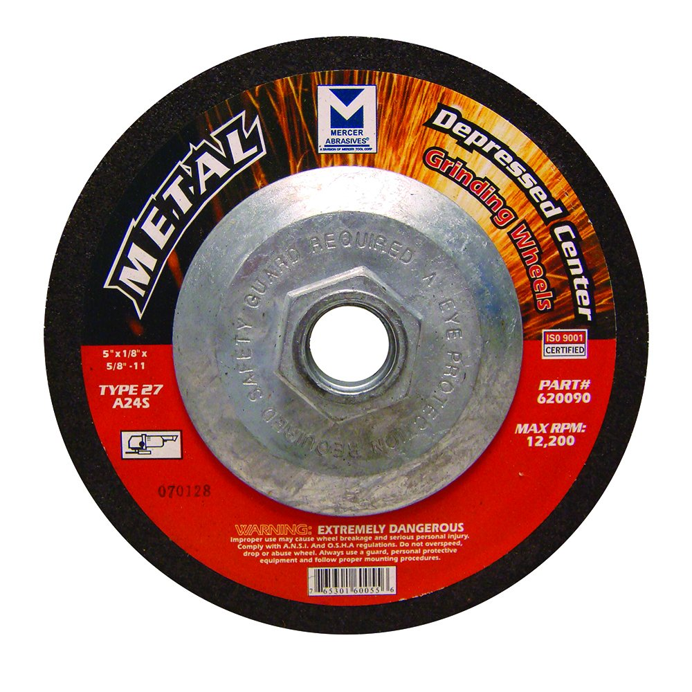5 x 1//8 x 5//8-11 20 Pack 5 x 1//8 x 5//8-11 Mercer Industries 620090 Type 27 Cut-Off and Light Grinding Wheels for Ferrous Metals